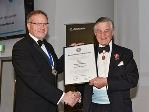 Sir Michael Marshall HonFRAeS being presented with his Honorary Fellowship by President ProfChrist Atkin CEng FRAeS