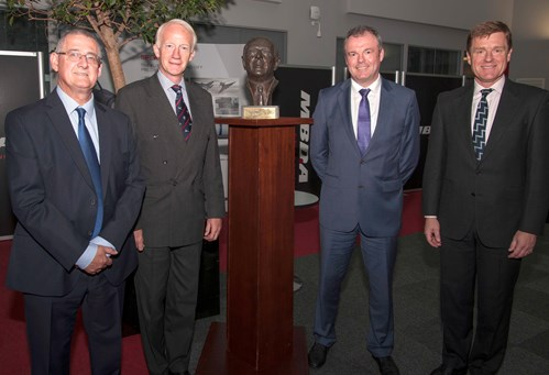 John Sedgley, Stevenage Branch Chairman; Sir Stephen Dalton GCB ADC, RAeS President Elect; Bust of Leslie Bedford; Dave Armstrong MBE, Stevenage Branch President; Vice Admiral Ben Key CBE, Royal Navy Fleet Commander.