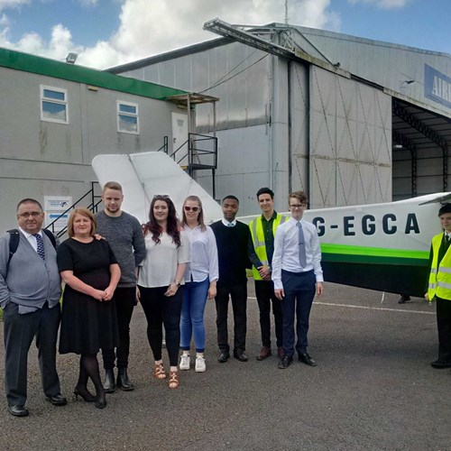 Some of the pupils, staff and volunteers involved in the G-EGCA build